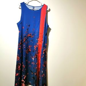 Rachel Roy 1X blue and red dress